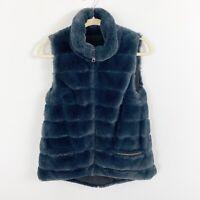 Dylan Faux Fur Blue Black Reversible Vest Size XS SO SOFT Pockets Sleeveless