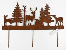 Gartenstecker Wald Tanne Hirsch Reh Hase Metall Rost Edelrost 57x24x1cm + Spieße