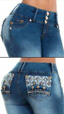 Authentic Colombian Jeans levantacola Skinny Butt lift (HANDMADE)embroidery Blue