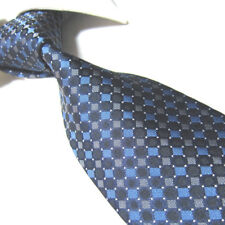 Extra Long Microfibre Tie XL Blue/Gray Plaid Mens Woven Polyester Necktie TPL376