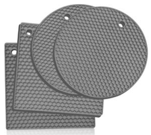 4 Pieces Non-slip Heat Resistant Silicone Kitchen Trivet Mat Pan Hot Pan Stand