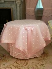 Vintage Miniature Dollhouse 1:12 Signed Pink Polka Dot Lace Tea Party Table OOAK