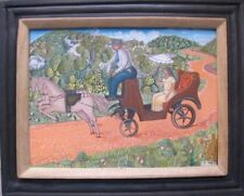 "Haitian Art Oil Painting Unidentified Blaise 12""X16"" Coach Ride Framed - Haiti"