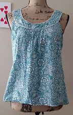 Anne Taylor Loft Top Shirt Size 6 Blue White Floral Print Zip Sleeveless Cotton