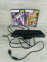 Microsoft XBOX 360 Kinect Sensor Bar Model 1414 Black and 2 games Tested