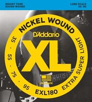 D'Addario Nickel Wound Bass Guitar Strings, Extra Super Light, 35-95, Long Scale