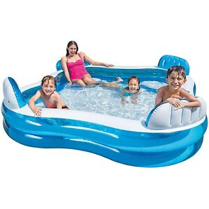 Intex Inflatable Outdoor Garden Swimming Paddling Pool With Seats & Head Rests