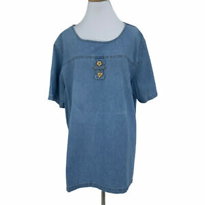 Vintage Silhouettes Chambray Blouse Women's Size 1X Blue Short Sleeve Made USA