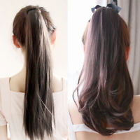 Curly Wavy Long Straight Ponytail Hair Extension Wrap Clip-In Ponytail Hairpiece