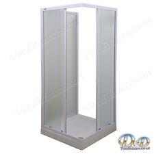 Box doccia a tre 3 lati 70x90 cristallo e profili alluminio bianco angolare