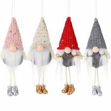 2Pcs Christmas Swedish Gnome Santa Doll Ornaments Hanging Xmas Tree Decoration