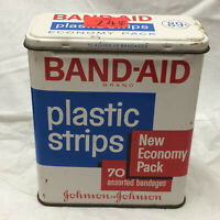 "Vintage Johnson & Johnson Band-Aid Tin 3 1/4"" X 4"" X 1 1/2"" Metal"