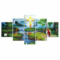Great Christ Jesus With Happy Green Nature Poster Wall Art Decor 5p Canvas Print