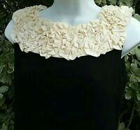 Womens Gabby Skye Ruffle Collar Form Fitting Black Dress Size 6