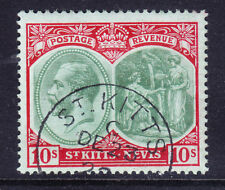 ST KITTS NEVIS GV 1920 SG35 10/- green & red on green superb used cat £48