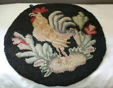 ANTIQUE HOOKED ROUND MULTI COLOR COUNTRYSIDE PRIMITIVE FOLK ART ROOSTER AREA RUG
