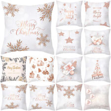 Pillow Case Soft Cushion Covers Rose Gold Christmas Pattern Sofa Home Decor Art