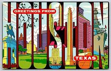 """""""Greetings From Houston, Texas"""" Large Letter Scenic Chrome Postcard Unused"""