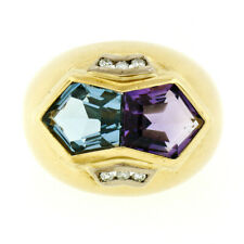 DENOIR 18k Gold Pentagon Cut Blue Topaz Amethyst & Round Diamond Dome Bombe Ring