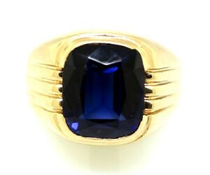 14k Gold And Sapphire Mans Ring.