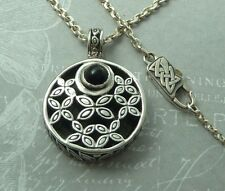 "Vintage Sterling Pendant, Floral Motif, 5mm Black Onyx, 22"" Chain, Konder #261"