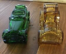 Two Avon Car Cologne Aftershave Bottle Decanter One Green.one Amber.empty