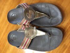 FitFlop Women's WALKSTAR Brown Stripe Fabric Sandals US 7 STYLE 032-012