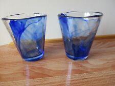 2 x BORMIOLI ROCCO BLUE GLASSES / TUMBLERS, MURANO WATER GLASS ITALIAN DESIGN
