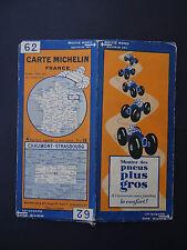 Carte MICHELIN old map CHAUMONT STRASBOURG n° 62 1930 Bibendum pneu tyre