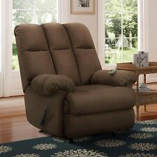 Brown Recliner Rocker Massage Chair Microfiber Living Room Den Man Cave Soft New
