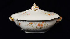 Antique Sazerat Limoges Covered Vegetable Bowl 1890-91 Peach & Yellow Floral