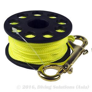 50m / 150ft Finger Spool Yellow Reel Scuba Diving Brass Snap Bolt