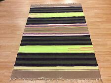 Ethnic Green Beige Striped Handloomed 100 Cotton Rag Rug Durrie 120x180cm 50 of