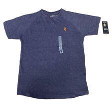 NEW US POLO ASSN. Boys' Crew Neck Iconic Logo T-Shirt, Dodger Blue Heather