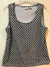 Chico's Zenergy Size 1 Tank Top Black White Polka Dots Embellished Sequins Small