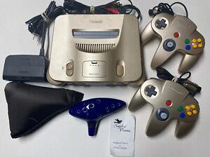 USA Nintendo 64 System Gold Console 2 Controllers N64 Zelda Ocarina Bundle Lot