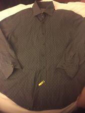 Men's Thomas Dean Button Front Casual Dress Shirt Brown  Blue Men's XL
