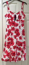 M and S Per Una Red and White Summer Dress Size 14L