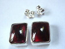 Garnet Stud Earrings Rectangle 925 Sterling Silver New 5ct