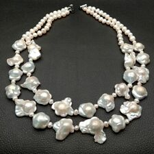 """19"""" 2 rows Cultured White Flower Keshi pearl Necklace"""