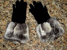 EMPRESS CHINCHILLA FUR THINSULATE TOUCH SENSITIVE GLOVES 4 COAT JACKET STOLE