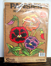 """TINA of CALIFORNIA SIMPLE STITCHES PANSIES MIXED COLORS EMBROIDERY KIT 11""""x14"""""""