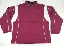 Authentic Warrior Pull Over Windbreaker 1/4 Zip Mens Size Large L Burgandy White
