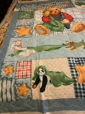 Daisy kingdom blue jean teddy quilt panel with bib to make