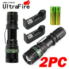 5000LM LED Flashlight XMLT6 Rechargeable Zoomable Torch+18650 Battery&Charger