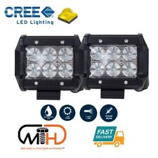 Pair 4inch CREE LED Work Light Bar Flood Beam Offroad Driving Lamp Reverse Fog