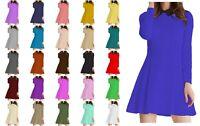 PAPAVAL KBCLS Kids Girls Collar Long Sleeve Flared Swing Dress Top Black-Collar