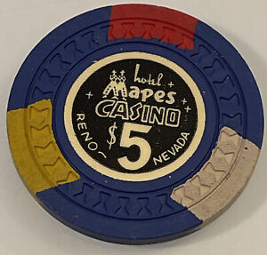 HOTEL MAPES CASINO $5 Casino Chip Reno Nevada 3.99 Shipping