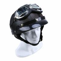 Vintage Motor Open Face Half Leather Helmet Goggles Retro Fit For Cafe RACER