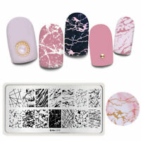 Harunouta Nail Art Stamping Plates Marble Lines Floral Printing Template L079